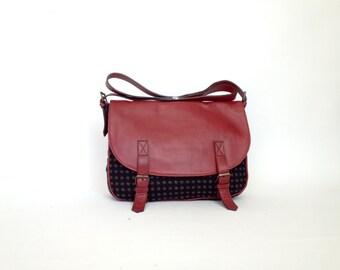 Leather & Canvas Messenger Bag red leather punctate black fabric shoulder bag handbag classic