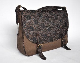 Messenger Bag leather and canvas handbag shoulder bag black lace brown bag