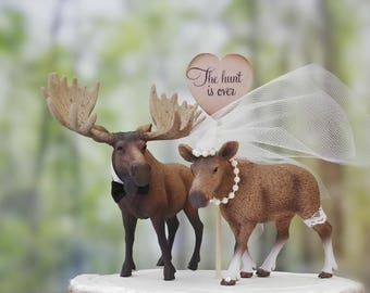 Moose wedding cake topper-Alaskan Moose themed rack bull and cow-Rustic Cake topper-Hunting groom bride and groom moose hunter rustic animal