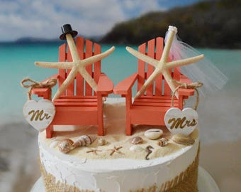6f573882e2a923 beach tropical starfish wedding cake topper destination bride and groom  nautical Hawaii themed beach chairs Adirondack miniature chairs