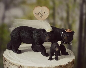 Bear-black-wedding-cake topper-family-grizzly-brown-lover-Mr and Mrs-bride-groom-baby bear-cub-hunting-camouflage-hunter-woodland-rustic