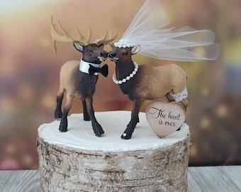 Elk-Elk hunter-wedding cake topper-hunting groom-camo-hunting-rustic wedding-western wedding-elk lover-deer hunter-deer-moose