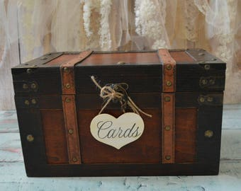 wedding trunk suitcase wood keepsake hope chest box wedding card holder wished advice vintage inspired trunk bride and groom gift card box
