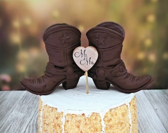 cfcc9e6a8e9 cowboy boot birthday cake topper groom s cake wedding topper brown male  boots Texas star Mr  Mrs baby shower western themed wedding party