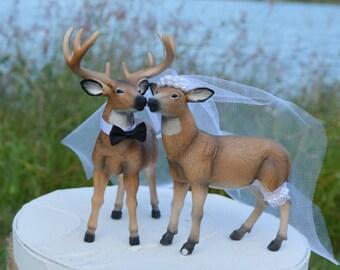 Camouflage wedding-deer hunter-wedding cake topper-deer lover-deer-bride and groom-western wedding-rustic wedding-camouflage-elk-deer