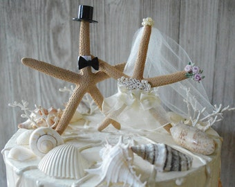 starfish wedding cake topper decorated ivory veil destination