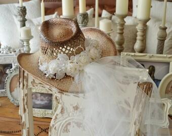 Western wedding Cowgirl hat and veil-western wedding-cowgirl hat-Bridal  cowgirl hat-western bride e0fddbd00e1
