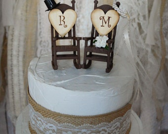 Terrific Rocking Chair Wedding Cake Topper Country Weddings Rustic Etsy Gamerscity Chair Design For Home Gamerscityorg