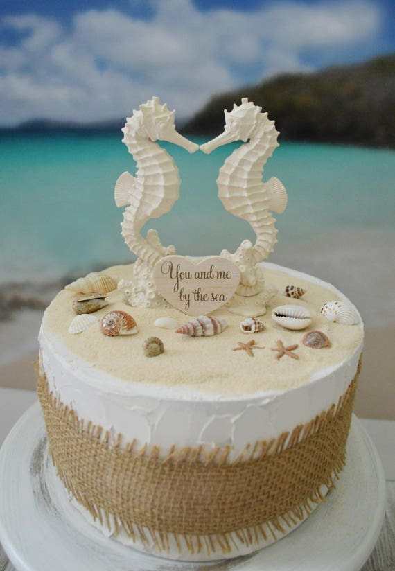 Seahorse Wedding Cake Topper Bride And Groom Beach Themed Etsy