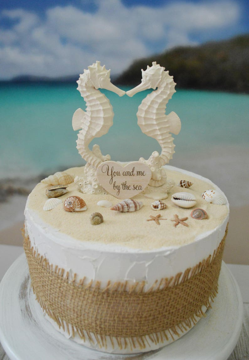e0a0ee334 Seahorse wedding cake topper bride and groom beach themed
