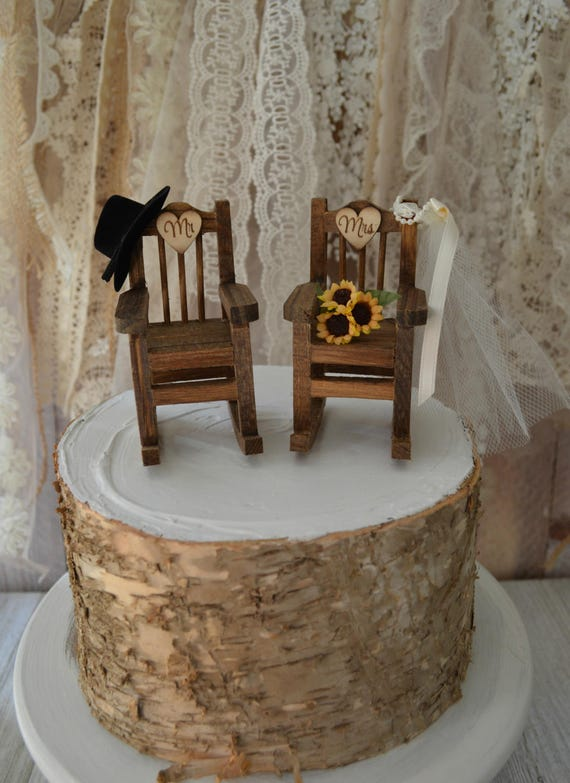 Brilliant Rocking Chair Wedding Cake Topper Country Weddings Rustic Sunflowers Bride Groom Mr And Mrs Hat And Veil Wedding Sign Wood Chairs Western Gamerscity Chair Design For Home Gamerscityorg