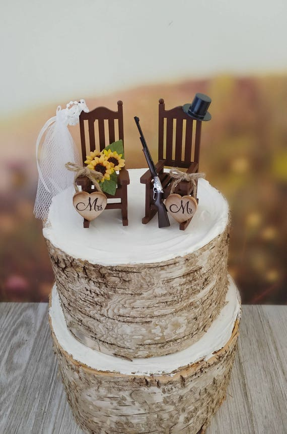 Tremendous Miniature Sunflower Rocking Chair Wedding Cake Topper Shotgun Rifle Hunting Theme Hat Veil Camping Groom Rustic Country Themed Bride Groom Gamerscity Chair Design For Home Gamerscityorg