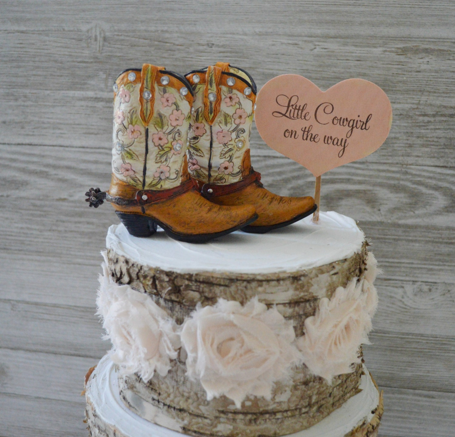 Cowboy Cowgirl Wedding Ideas: Girls Cowboy Cowgirl Boot Cake Topper Birthday Baby Shower
