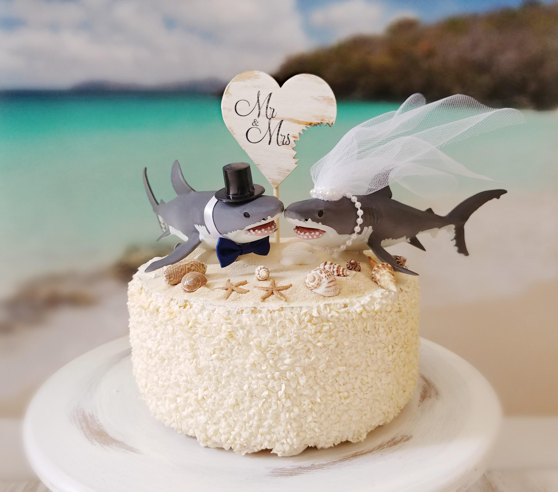 Wedding Cake Topper.Shark Wedding Cake Topper Great White Lover Bride And Groom San Jose Sharks Mascot Beach Nautical Themed Cake Topper Destination Tropical