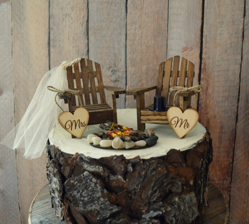 Country Themed Wedding.Country Adirondack Chair Wedding Cake Topper Camping Fishing Lake Themed Wedding Tent Hunting Groom Campfire Bride And Groom Mr And Mrs Sign