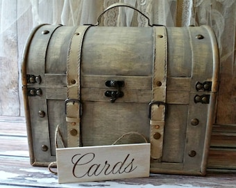 trunk-wood-distressed-vintage inspired-card sign-treasure chest-suitcase-card holder-card box-wedding trunk shabby chic