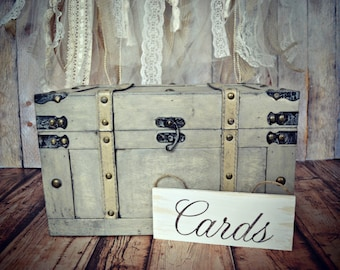 Wedding card holder-card sign-country-rustic-Trunk card holder-Wedding Card holder-Wedding card box-Wood trunk-Travel trunk-Vintage style