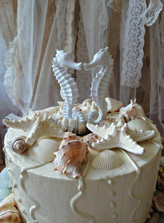 D/écoration de g/âteau de mariage de plage pour g/âteau de mariage tropical sur le th/ème de la plage Mr Mrs