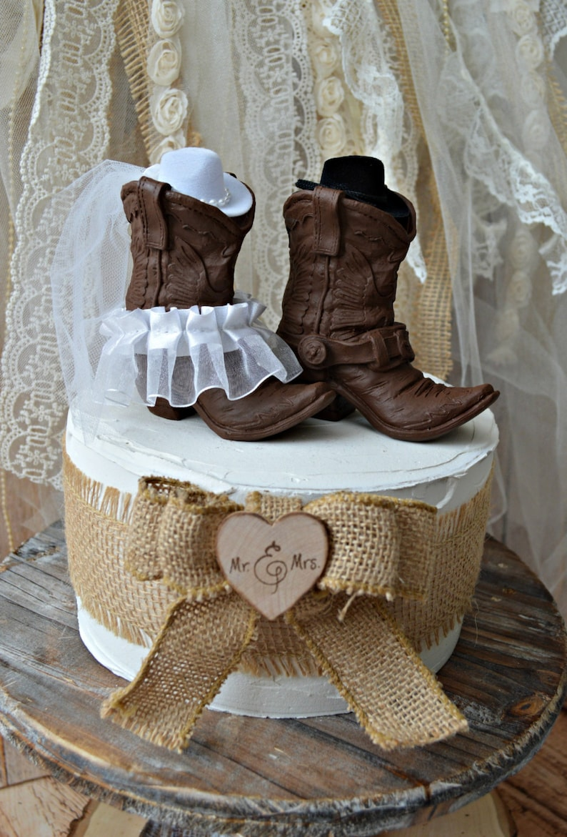 fd63199fa69 Western wedding cowboy cowgirl boot cake topper bride and | Etsy