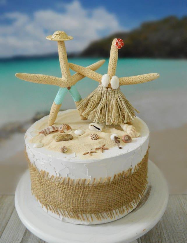 Nautical Beach Themed Wedding Cake Topper Starfish Decorated Etsy
