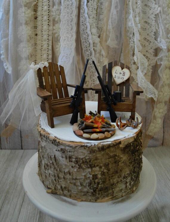 Deer Hunting Gun Wedding Cake Topper Hunting Bride Groom Shot Etsy