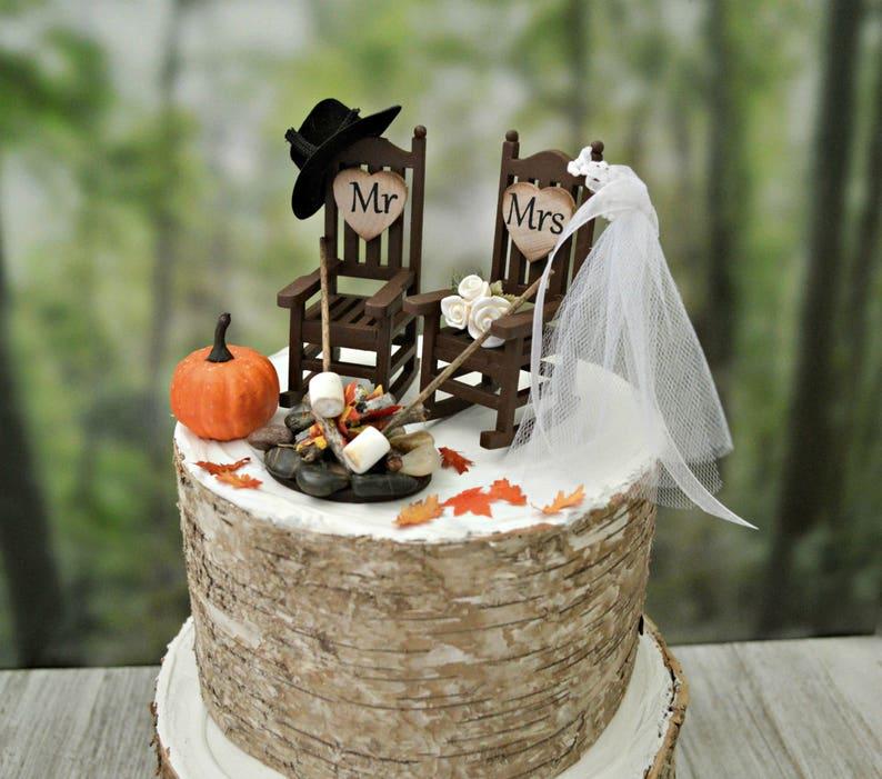 Small Country Wedding Ideas: Fall Themed Wedding Cake Topper Country Pumpkin Wedding