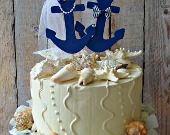 Anchors Away wedding cake topper-Anchors-boat wedding cake topper-sailing-sailing cake topper-nautical theme-beach wedding