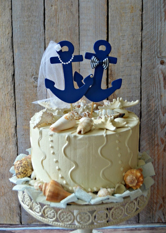 41eb7529773a03 Anchors Away wedding cake topper-Anchors-boat wedding cake