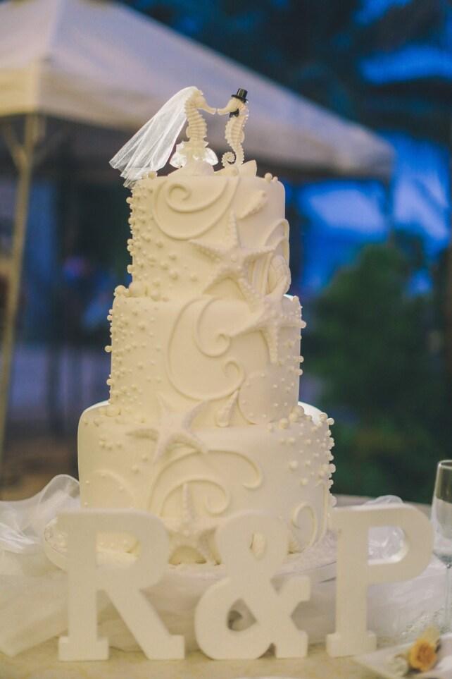 Seahorse wedding cake topper-ivory seahorse-beach | Etsy