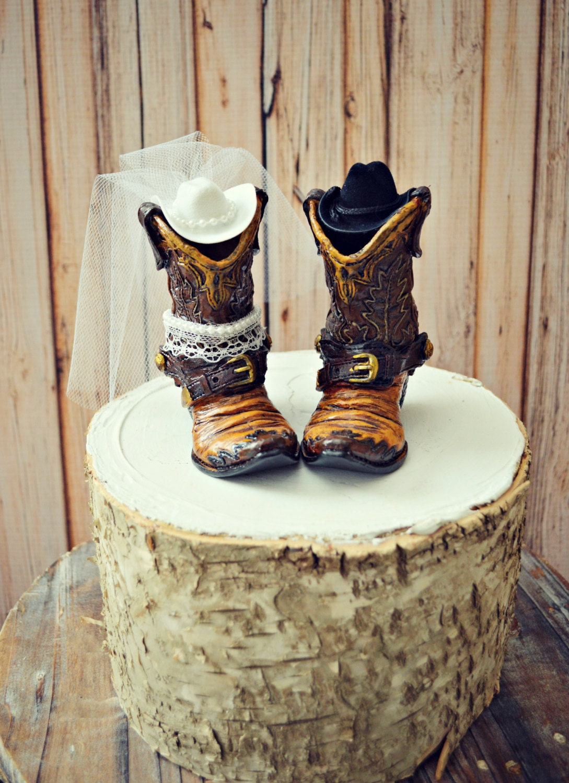 Western cowboy boots wedding cake topper-western | Etsy