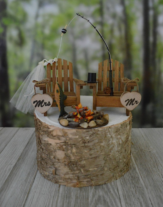 Fishing Themed Wedding Cake Topper For Rustic Country Weddings Etsy