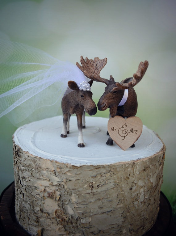 Miraculous Moose Alaska Wedding Cake Topper Moose Lover Moose Etsy Funny Birthday Cards Online Overcheapnameinfo