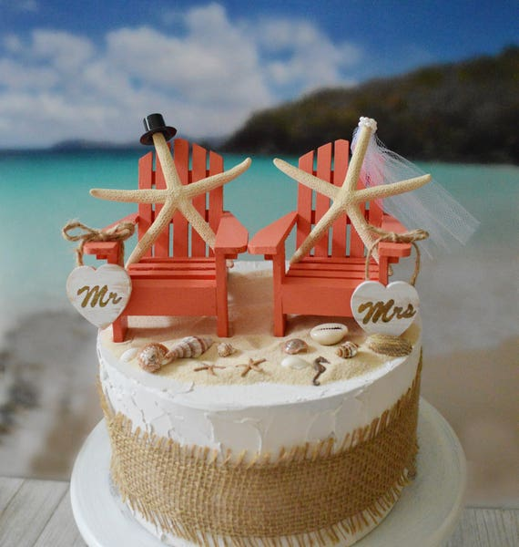 Beach Tropical Starfish Wedding Cake Topper Destination Bride And Groom Nautical Hawaii Themed Beach Chairs Adirondack Miniature Chairs