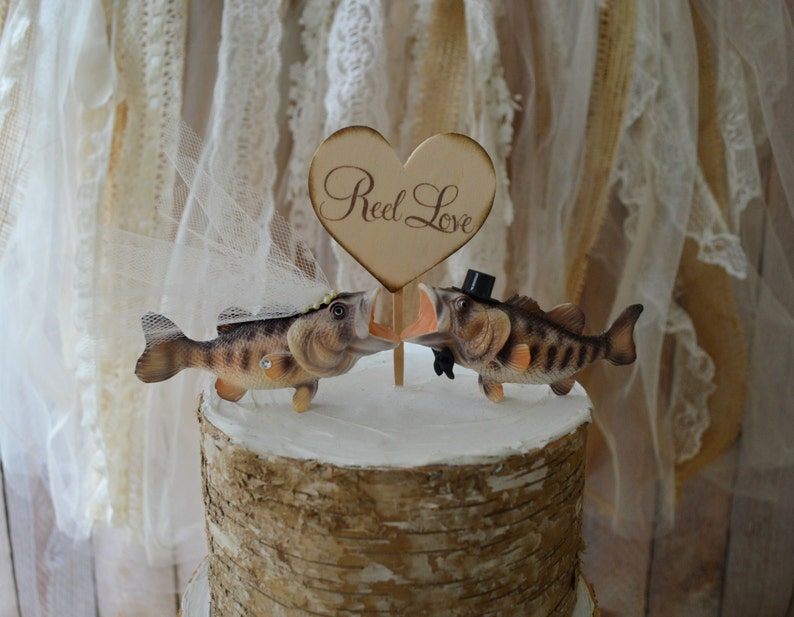 Large Bass Wedding Cake Topper Fishing Themed Bride And Groom Etsy