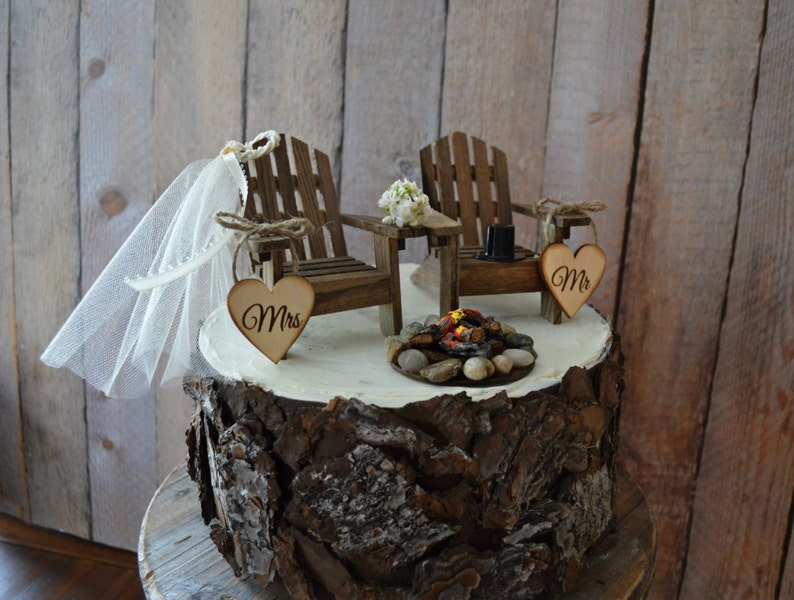 Country Wedding Chair Wedding Cake Topper Camping Hunting Etsy
