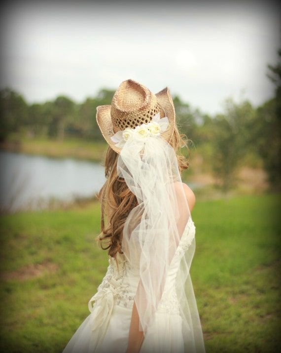 Wedding-cowgirl-bride-western wedding-cake topper-bachelorette-party-cowgirl hat-veil-ivory-bachelorette hat-cowgirl boots-formal-hat
