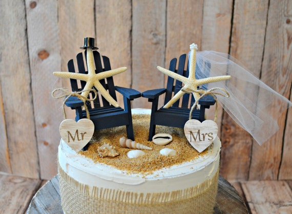 Navy Blue Nautical Beach Themed Wedding Cake Etsy
