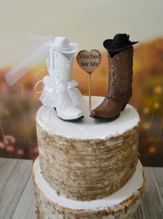 Western Wedding Cake Topper Cowboy Cowgirl Boots Bride And