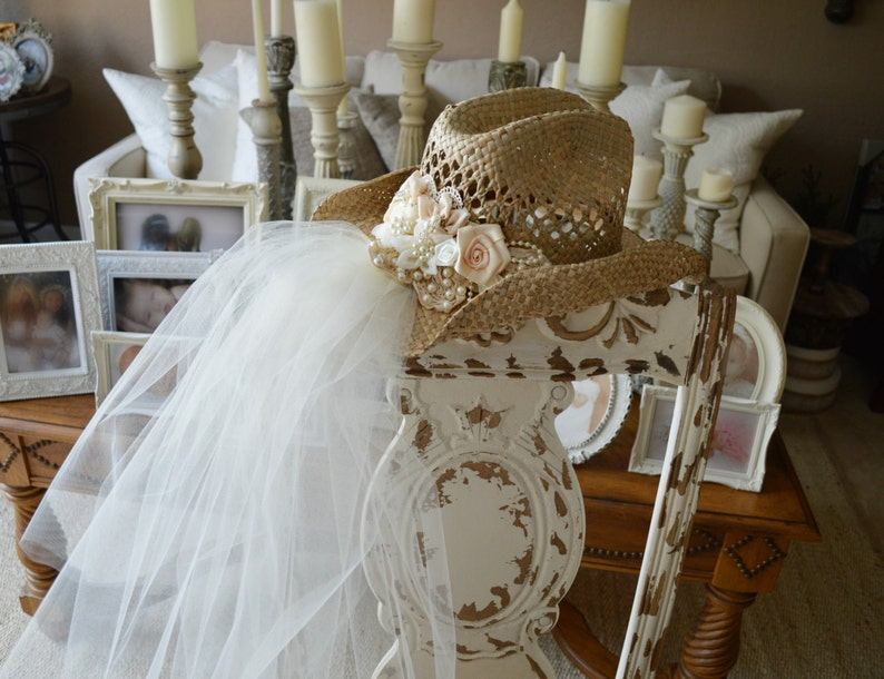 Western Bride Cowgirl Hat For Western Wedding Ivory Decorated Etsy