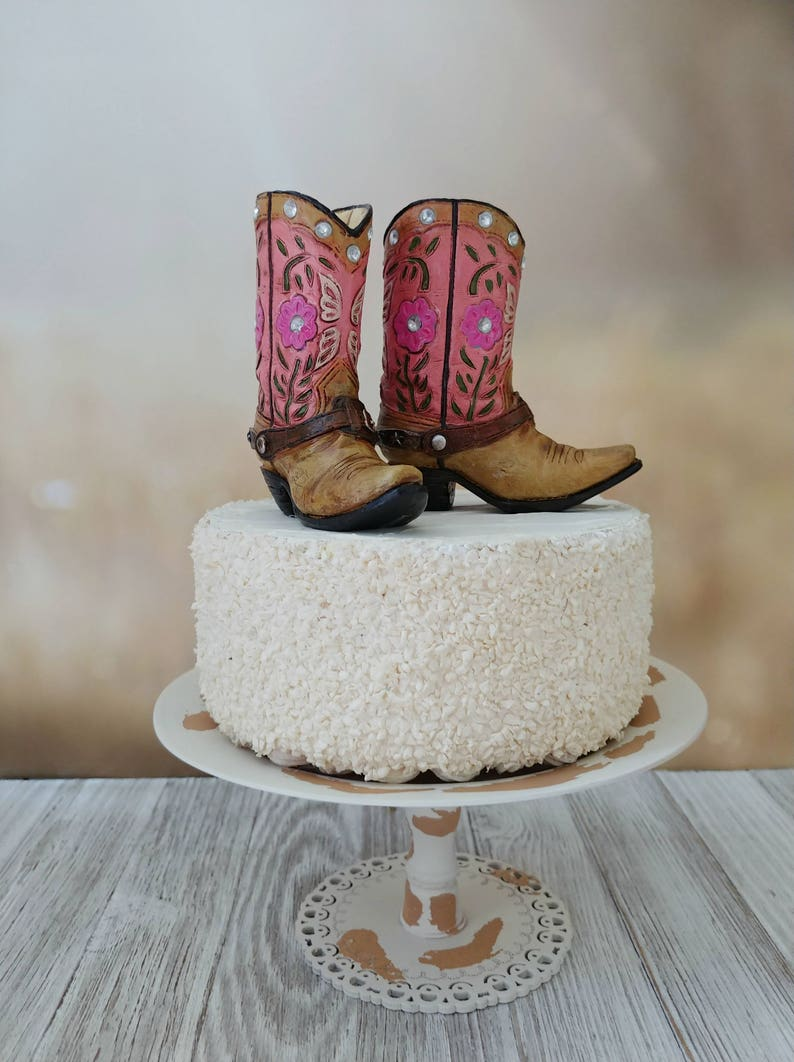 e14b1e36a4a pink cowgirl boot cake topper birthday cake topper bride to be bridal  shower baby shower western birthday party girls country birthday small