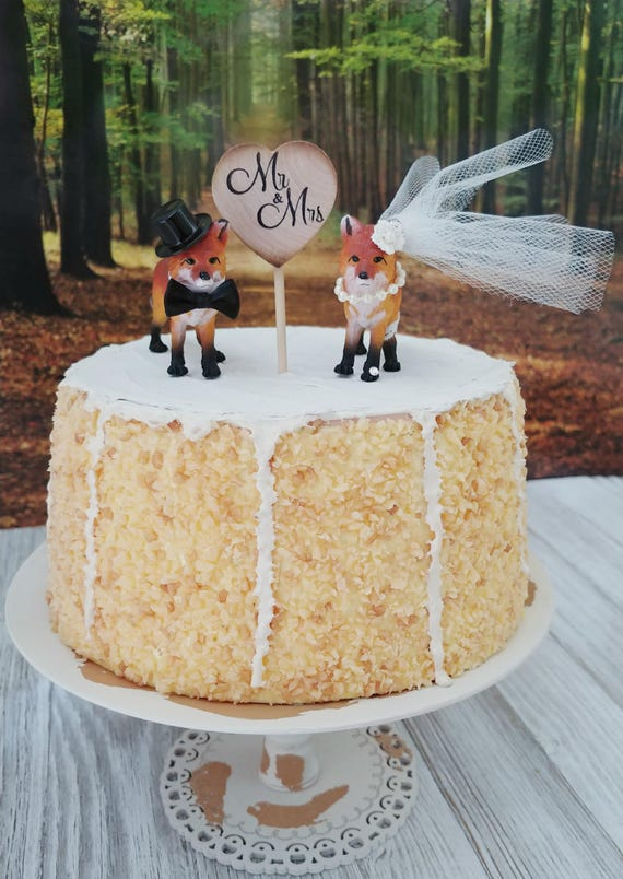 fox bride and groom wedding cake topper rustic woodland animal | Etsy