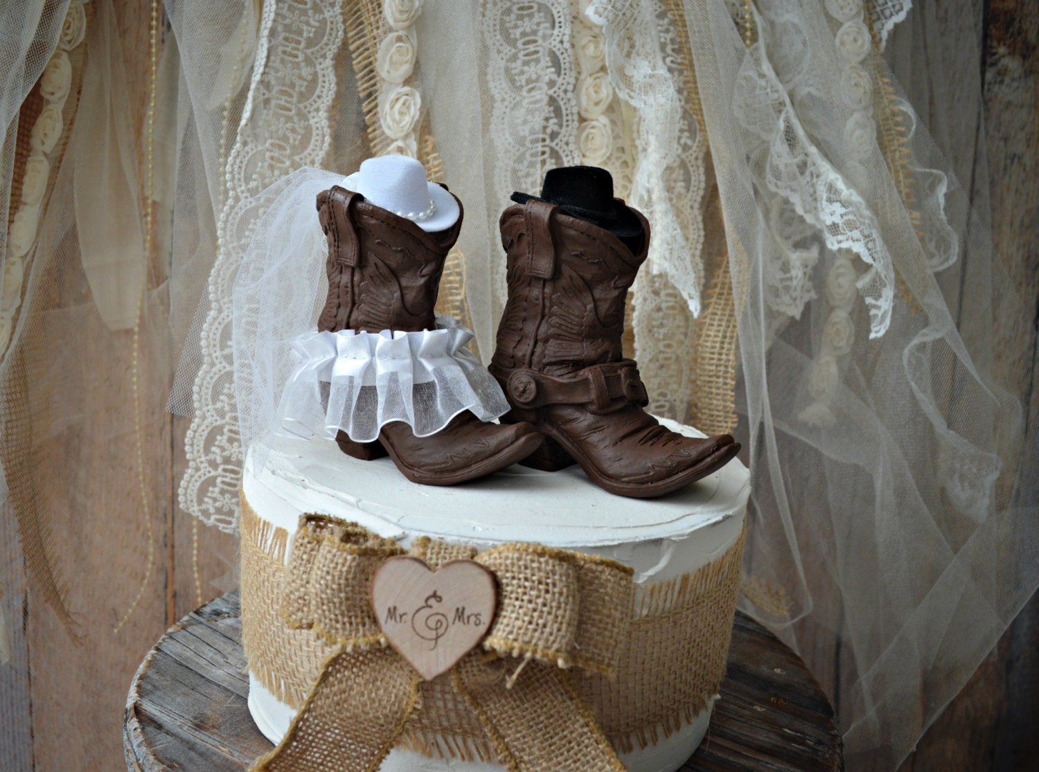 His And Hers Western Boots-wedding Cake Topper-cowboy