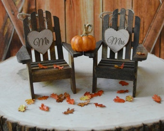 Fall-wedding-cake topper-country-pumpkin-autumn-leaves-wood-chairs-Adirondack-bride and groom-groom's cake-fall wedding decor-fall leaves
