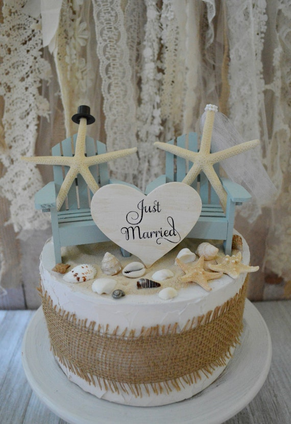 Starfish Wedding Cake Topper Bride Groom Beach Weddings Beach Chairs Destination Adirondack Chairs Just Married Mr Mrs Decorated Starfish
