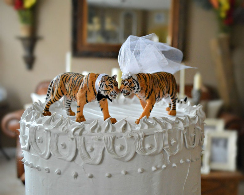 tigerbridegroomweddingcake toppermr and mrszoo  etsy