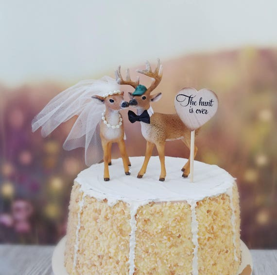 Buck Doe Bride And Groom Wedding Cake Topper Hunting Themed Etsy