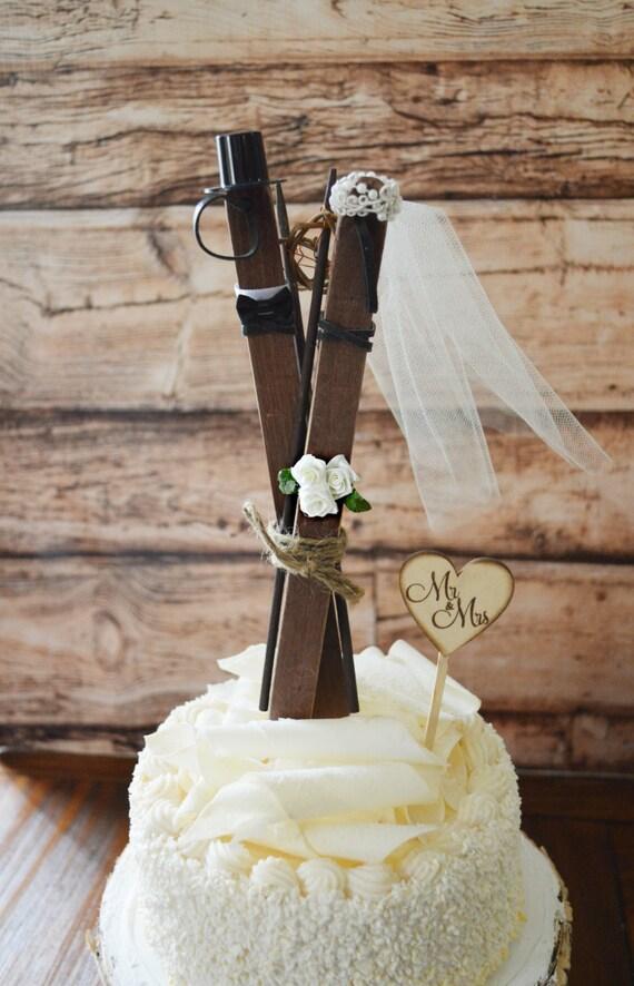 Ski Wedding Cake Topper Skis Winter Themed Bride And Groom Etsy