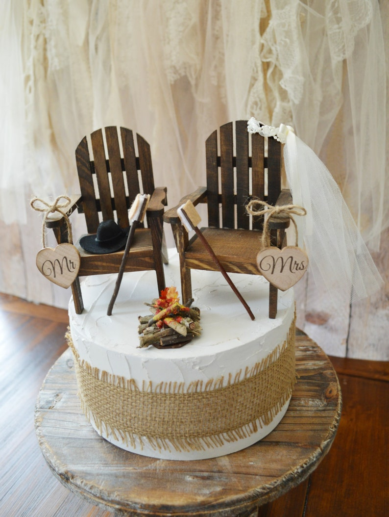 e69c52791204dc Camping wedding cake topper country rustic weddings wood