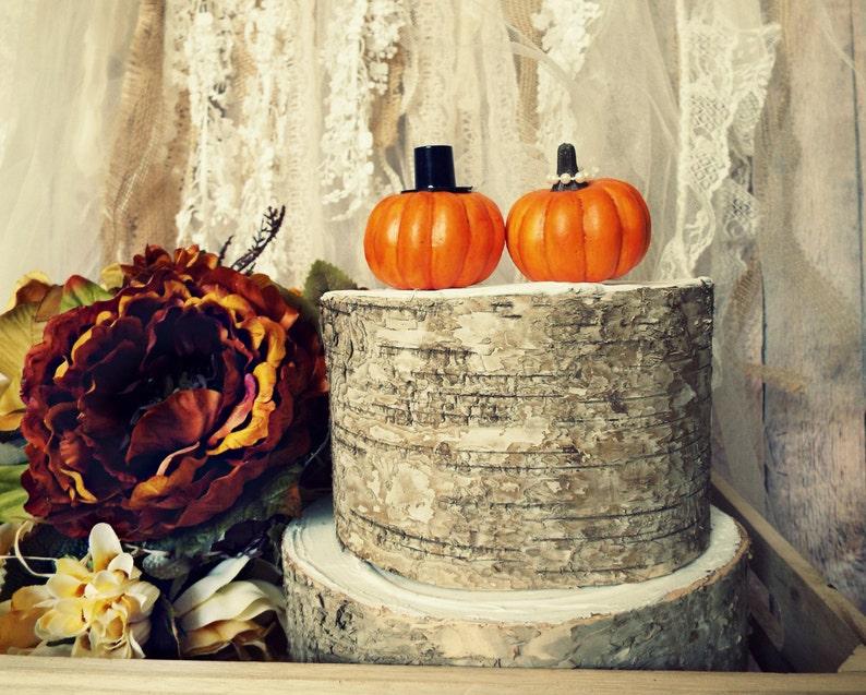 Pumpkin Fall Wedding Cake Topper Fall Themed Wedding Bride