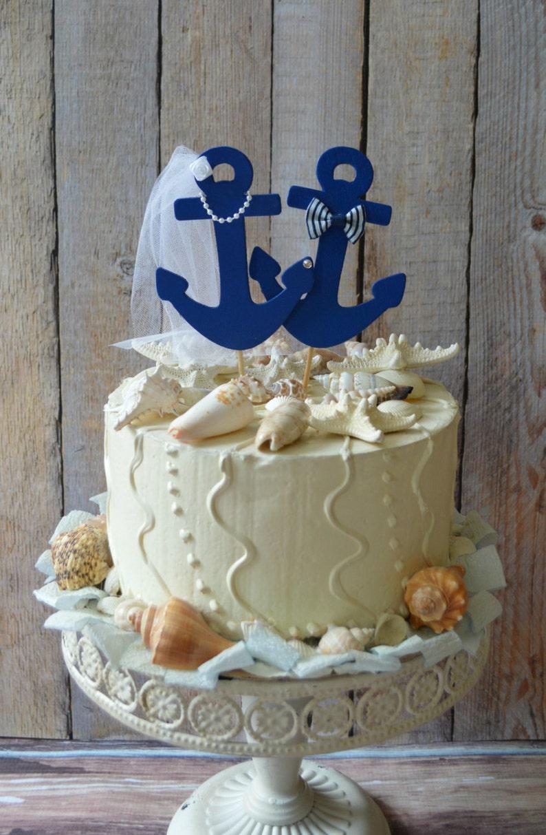 Anchors Away wedding cake topper-Anchors-boat wedding cake image 0